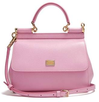 Dolce & Gabbana Sicily Small Dauphine Leather Bag - Womens - Light Pink