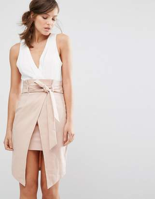 Parallel Lines 2 In 1 Dress With Wrap Front And Tie Waist $58 thestylecure.com