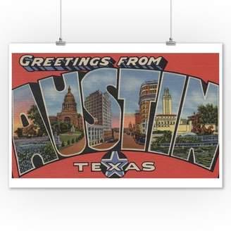 Lantern Press Austin, Texas - Large Letter Scenes (9x12 Art Print, Wall Decor Travel Poster)