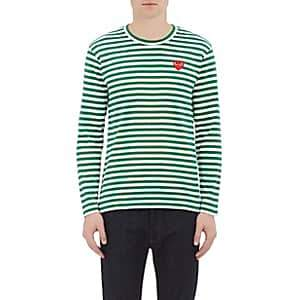 Comme des Garcons Men's Striped Long-Sleeve T-Shirt - Green