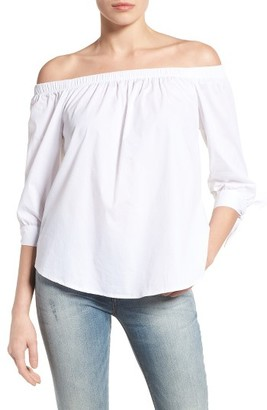 Women's Bobeau Off The Shoulder Cotton Poplin Top $59 thestylecure.com