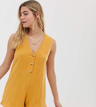 rhythm Camille cotton button front beach playsuit in marigold