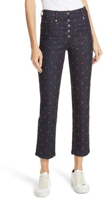 MIAOU Junior Floral Embroidered Crop Jeans