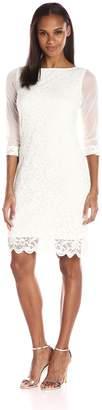 Tiana B Women's 3/4 Dress with Chiffon Sleeves and Scalloped Lace Hem