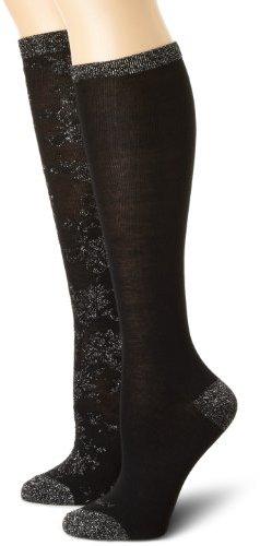 Ellen Tracy Women's 2 Pair Floral Lurex And Tipped Lurex Knee High Sock Pack