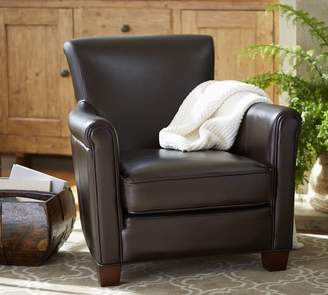 Pottery Barn Irving Roll Arm Leather Armchair