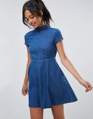 Asos DESIGN denim smock dress with ruffle neck