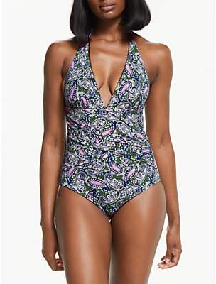 Boden Valencia Swimsuit, Hunter Green Paisley