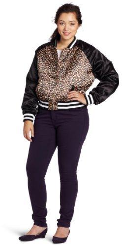 Southpole Juniors Plus-Size Satin Animal Print Varsity Jacket