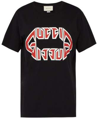 Gucci Logo Print Cotton T Shirt - Mens - Black Red