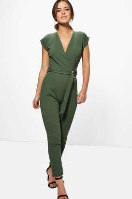 boohoo Petite Melissa O-Ring Detail Belted Jumpsuit
