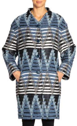 Santorelli Rosalie Geometric Oversized Cocoon Coat