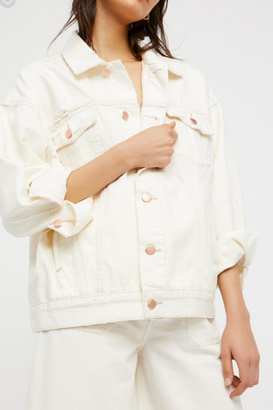 Free People White Denim Jacket $128 thestylecure.com