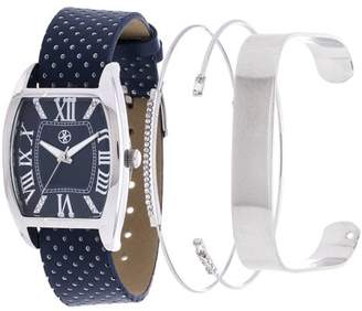 Xtreme Fortune NYC Arm Candy Ladie's Fashion Silver Square Case / Navy Blue Leather Strap Watch with a Set of 2 Bracelets