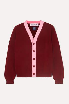 Comme des Garcons Two-tone Knitted Cardigan - Burgundy