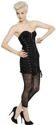 Jean Paul Gaultier Lace-Up Cotton Lace Bustier Dress