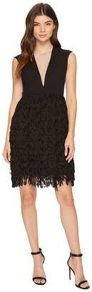 Aidan Mattox Crepe and Sequin Fringe Dress Women's Dress