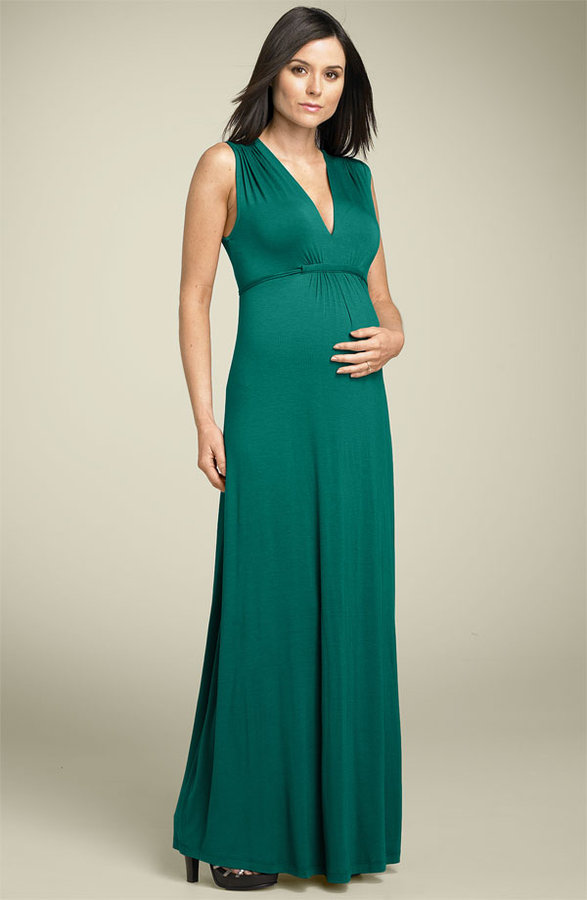 Olian Maternity Shirred Jersey Maxi Dress