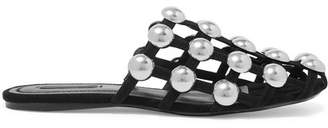 Alexander Wang Amelia Studded Suede Slippers - Black