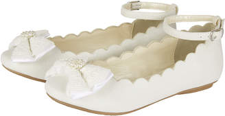 Monsoon Scalloped Lace Bow Ballerina Shoes