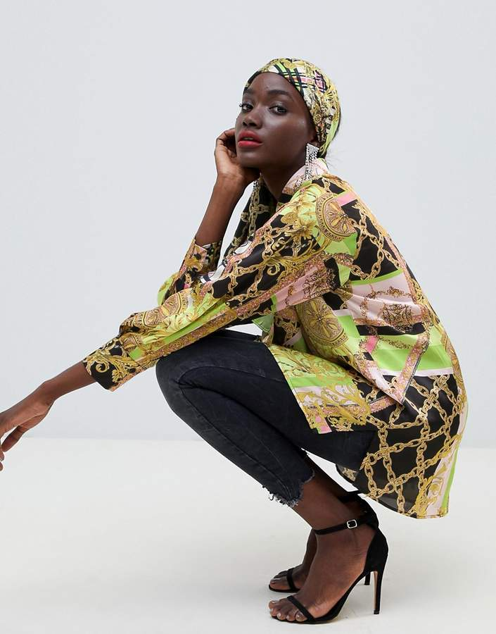 ASOS DESIGN oversized shirt co-ord in scarf print
