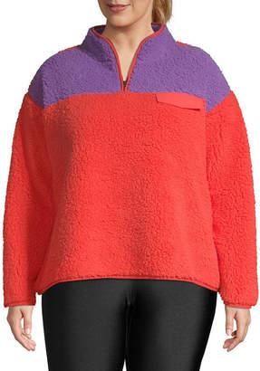 Flirtitude Womens Mock Neck Long Sleeve Sweatshirt Juniors Plus