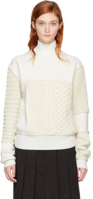 McQ Ivory Cropped Cable Knit Mix Turtleneck