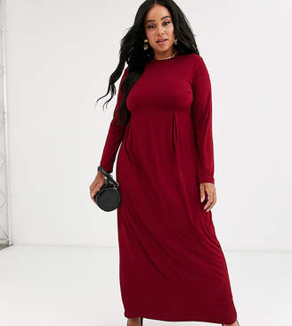 Verona Curve long sleeve jersey maxi dress with pleat in burgundy