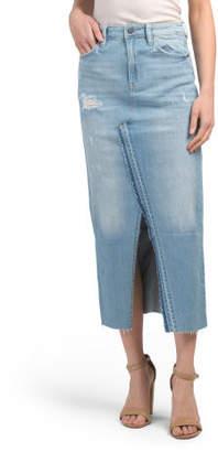 Split Front Denim Maxi Skirt