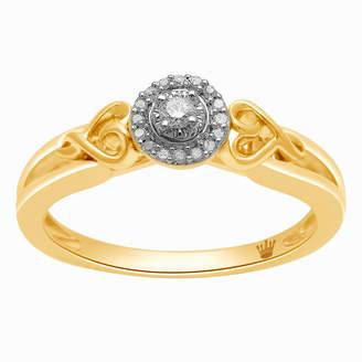 HALLMARK DIAMONDS Hallmark Diamonds Womens 1/10 CT. T.W. Genuine White Diamond 14K Gold Over Silver Heart Cocktail Ring