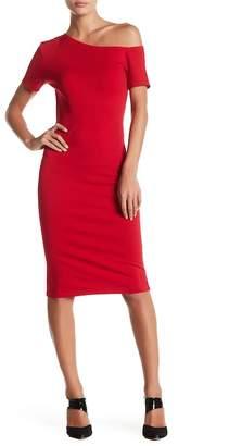 Love...Ady Asymmetrical Shoulder Ponte Dress