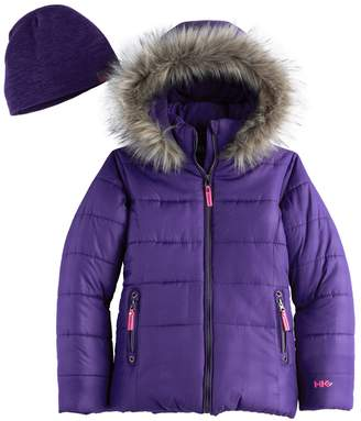 Hawke & Co Girls 7-16 Heavyweight Faux-Fur Trim Quilted Puffer Jacket with Hat