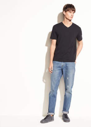 Slub Cotton V-neck T-shirt