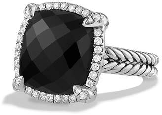 David Yurman Ch'telaine Pavé Bezel Ring with Black Onyx and Diamonds