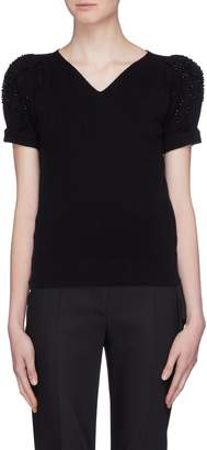 Co Strass puff sleeve wool-cashmere knit top