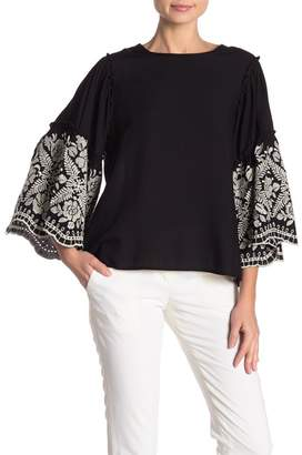 Karen Kane Embroidered Blouson Sleeve Top
