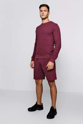 boohoo Pique Sweater Short Tracksuit