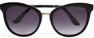 TOM FORD - Cat-eye Acetate And Gold-tone Sunglasses - Black $405 thestylecure.com