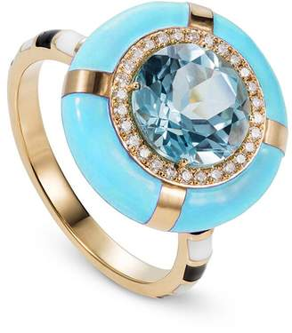N. NeverNoT Show Tell - Ready to Celebrate Blue Topaz and Blue Enamel Ring