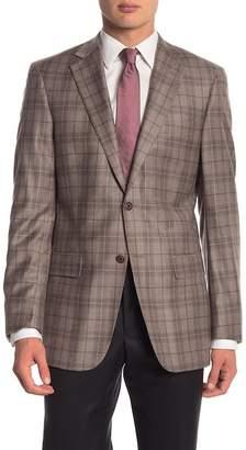 Hart Schaffner Marx Tan Plaid Two Button Notch Lapel Wool Classic Fit Blazer