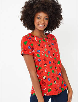 George Red Printed Christmas T-Shirt