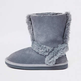 River Island Girls blue suede fur lined ankle boots