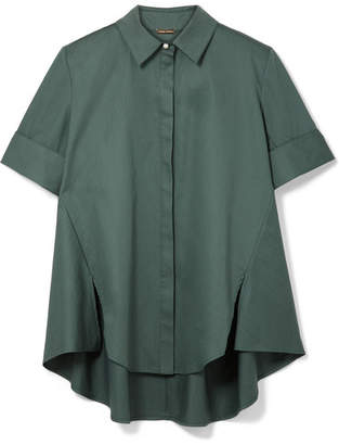 ADAM by Adam Lippes Faux Pearl-embellished Cotton-poplin Shirt - Emerald