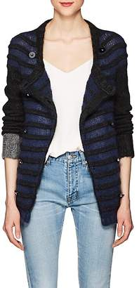 Barneys New York Women's Striped Mohair-Blend Double-Breasted Cardigan