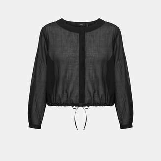Theory Cotton Cropped Drawstring Top