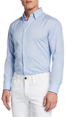 Brioni Men's Plaid Cotton/Linen Shirt