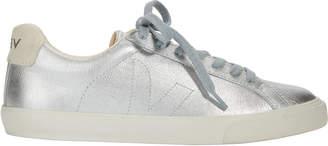 Veja Metallic Silver Leather Sneakers