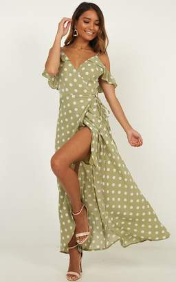 Showpo Flowing Free Dress in sage spot - 6 (XS) Dresses