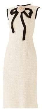 Gucci Sleeveless Tweed Bow Sheath Dress