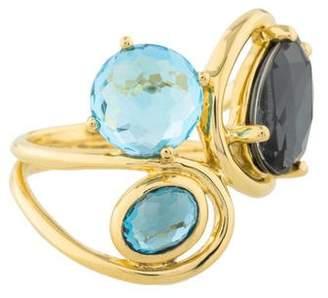 Ippolita 18K Blue Topaz & Diamond Medium Baguette Ring